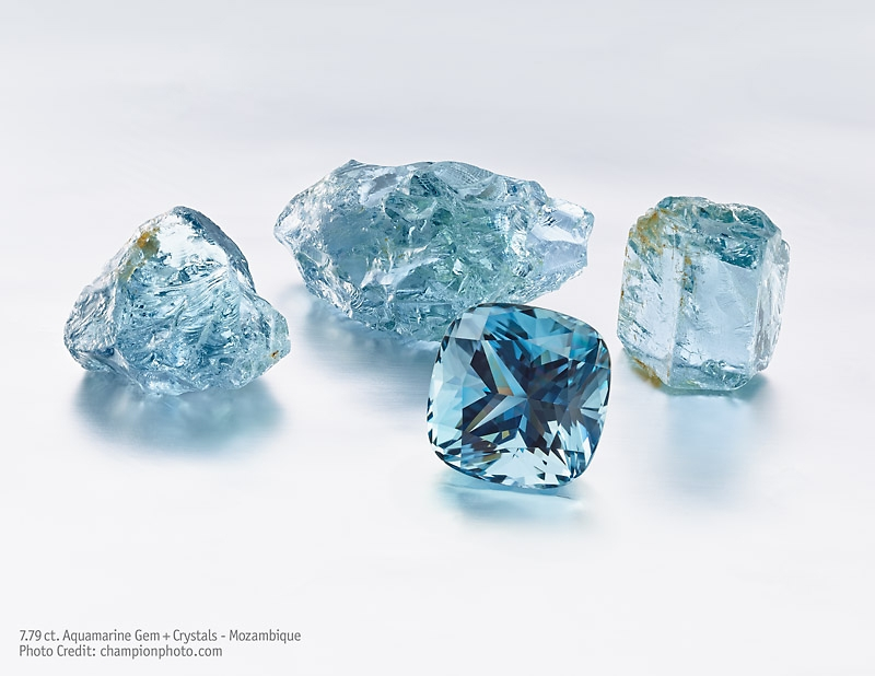 Aquamarine crystals and cushion shaped cut Gem from Mozambique