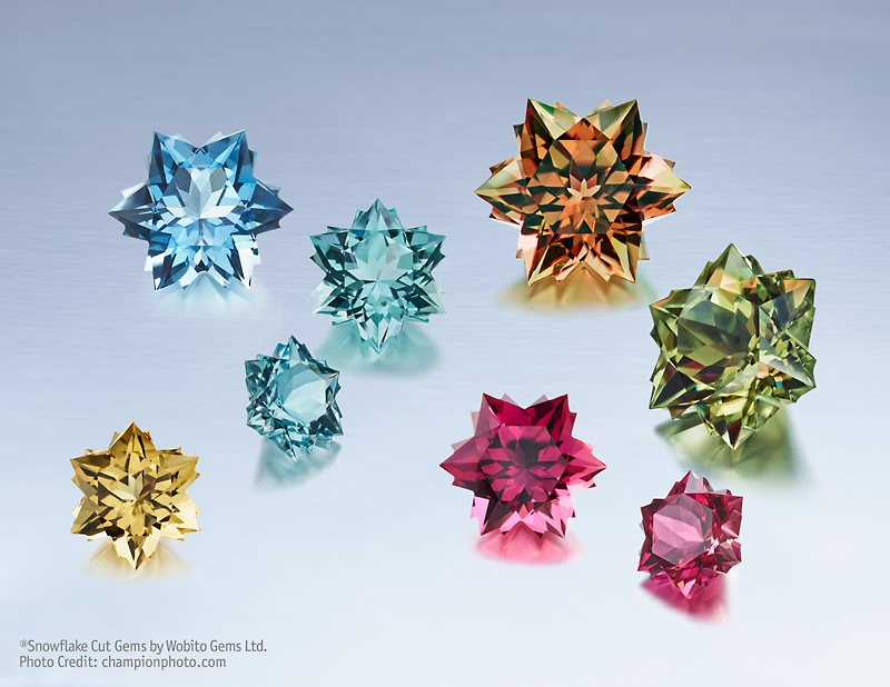 Yellow Beryl, Aquamarine, Pink Tourmaline, and Csarite Snowflakes