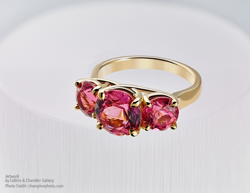 Wobito cut Pink Tourmalines from Nigeria. Ring by Artwork Gallery
