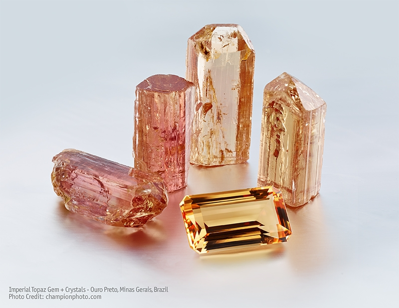 Wobito Cut Imperial Topaz and Crystal Specimens